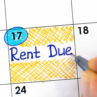photo of calendar with rent due written
