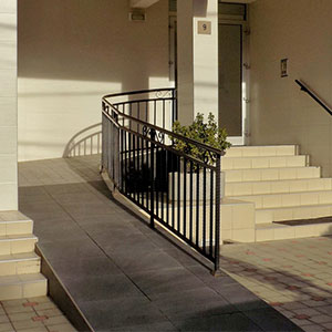 stairs and wheelchair access ramp